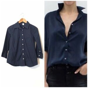 J. Crew Factory Navy 3/4 Sleeve Button Front Shirt